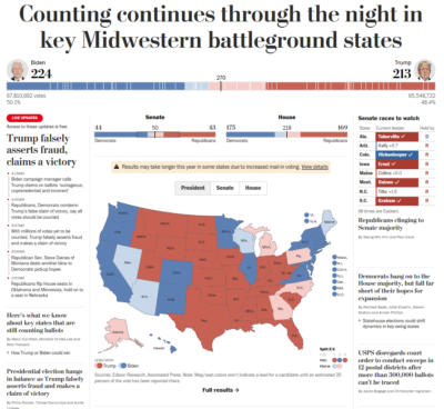 Screenshot of Washington Post front page